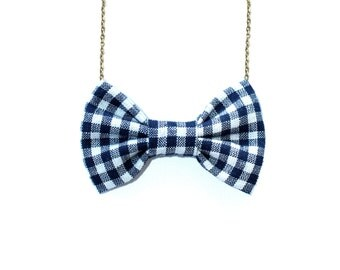 Navy Blue & White Gingham - Bow Tie Necklace, Custom Gift Wrapped Accessory BowTie on a chain for Women and Girls