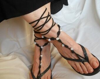 CROCHET BAREFOOT SANDALS / Summer Sandles Shoes Beads Victorian Anklet Foot Women Accessories Cotton Elegant Feminine Chic Gift Beach Wear