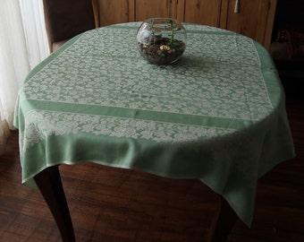 Vintage Damask Tablecloth Mint Green Roses Art Deco 49 x 52