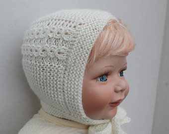 Made to Order Princess Charlotte Bonnet. 0 - 6 months. Hand Knit Princess Bonnet. Knit Baby Bonnet. Baptism Bonnet