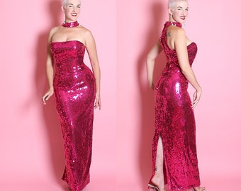 BOMBSHELL 1960's Style Metallic Magenta / Fuchsia Fully Large Sequined Extreme Hourglass Evening Gown w/ Reverse Halter Collar Neckline - M