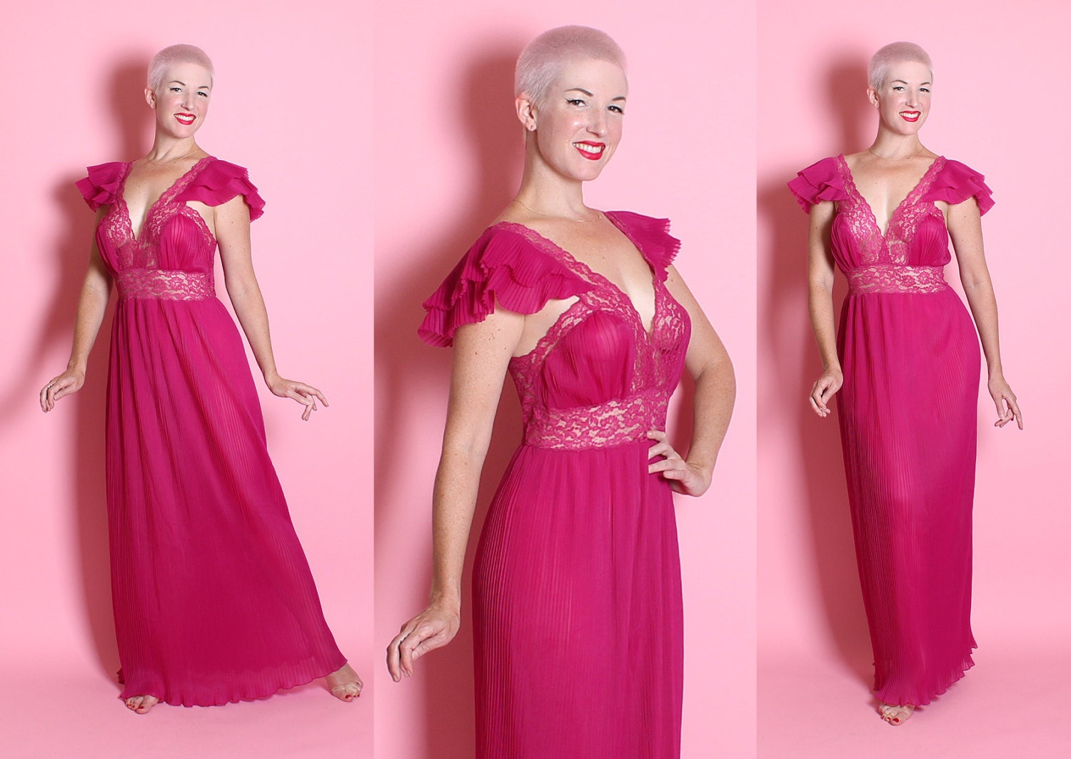 SPECTACULAR 1940's Shocking Magenta Sheer Nylon Finely Accordion Pleated Night Gown w/ Shelf Bust & Lace Details By Beau Monde - Size M to L