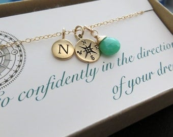 College graduation gift for her, compass initial necklace, personalized jewelry, go confidently in the direction of your dreams