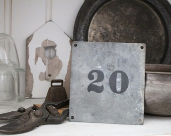 FRENCH address NUMBER.. Antique Zinc Galvanized plaque, Jeanne d Arc style, Nordic French