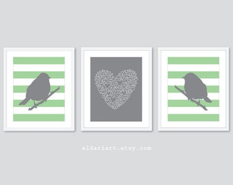 Perched Birds and Heart Nursery Art Prints - Set of 3 Prints - Birds Art - Love Heart Art Print - Baby Girl Nursery Decor - Green and Grey