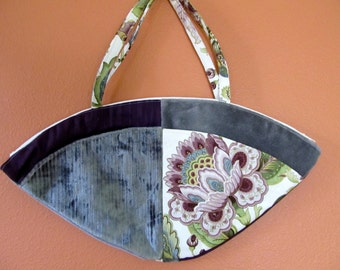 Lu Lu 1346E  Fan Shaped Hand Bag Made From Up Scale Upholstery, Designer Fabrics, Up Cycled