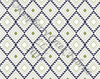 Blue Grey and Green Geometric Diamond Aztec 4 Way Stretch Jersey Knit Fabric, Club Fabrics