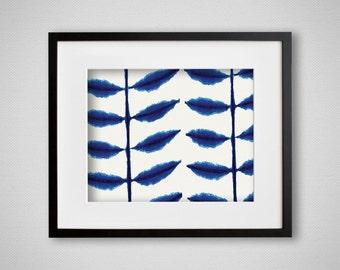 Indigo Blue Art Print Shibori Petals Watercolor Wall Art 8x10 or 11x14
