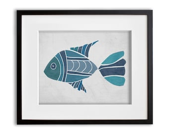 Turquoise and Blue Boho Fish Wall Art 8x10 or 11x14 Graphic Print
