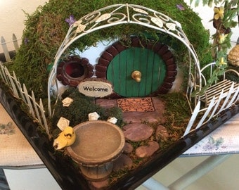Hobbit Hole Fairy House Garden Dollhouse LOTR Custom Order Only (SOLD)
