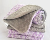 Minky Baby Blanket, Silver Minky with Medium Damask in Lavender Cotton Print for Your Little Baby Girl