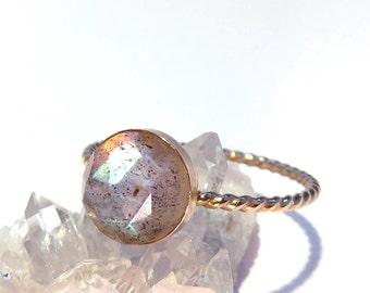 Labradorite ring, Gold Labradorite ring, Gemstone ring, Gold Ring, Midnight Moonstone Ring, Gold stacking ring, Labradorite stacking ring