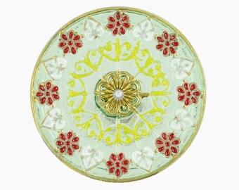 Czech Glass Button - Transparent Green Flower Mandala Hand Painted Czech Glass Button, 1.25 inch , Shank Button