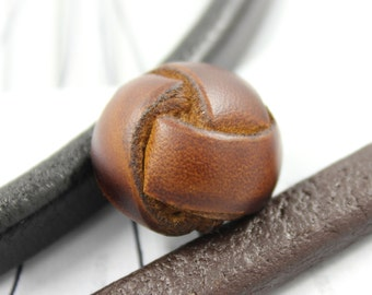 Leather Buttons - Genuine Leather Brown Domed Buttons, 0.83 inch , 4 pcs