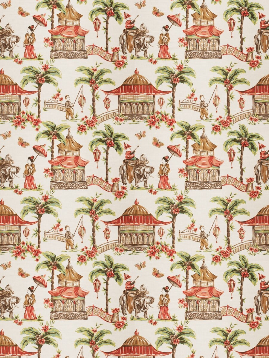 Mougin coral home decor chinoserie print multipurpose fabric for Coral decorations for home
