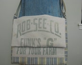 Messenger Laptop Bag Upcycled from Vintage Feed Sack