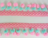 Double Bright Pink Emerald Green Mini Pom Pom Twin Ball Dangle Fringe Lace Mix Color Trim Sewing Braid Embellishments 3 Yards