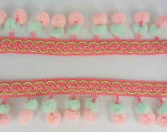 Double Peach Pink Mint Green Mini Pom Pom Twin Ball Dangling Fringe Lace Trimming Sewing Braid Embroidered 3 Yards
