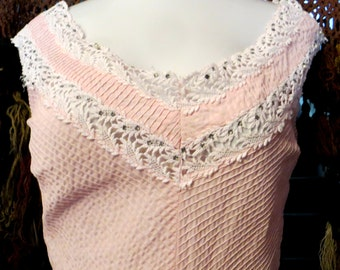 SALE Flirty Pink Cotton 50s Dress with Eloaborate Rhinestones and Crochet Trim, ML
