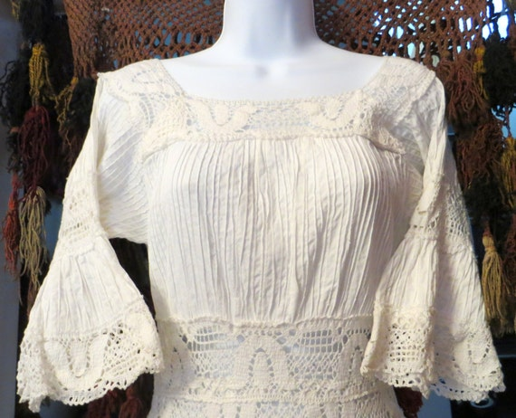 Sale gorgeous vintage white pintucked crocheted lace mexican for Mexican wedding dresses for sale