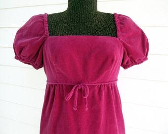 1960s Velvet dress Rose Pink Midi S