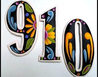 """5 numbers - 4 1/2"""" Hand Painted Metal Address Number - Black and Gold - Metal art numbers. Address sign. House Numbers - AD-100-4-BK-GL"""