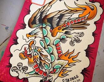 Eagle Fighting Dragon Original Tattoo Flash
