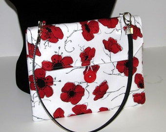 Tablet case, shoulder bag, clutch, handbag, button closure, cross body, red and white, poppy flowers, cotton, leather straps