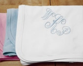 Baby Blanket in White, Pink or Light Blue Monogrammed New Baby Gift