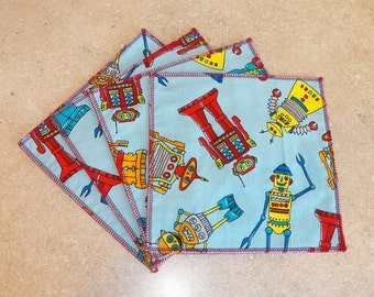 Cloth Wipes- Robots- Set of 5- 15047