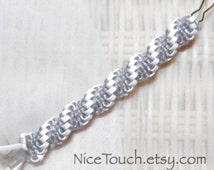 SUMMER SALE!!! Free Shipping or Save 20% ~ New Year Silver Sparkle woven gimp lanyard keychain ~ Made to Order