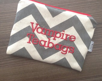 Vampire Teabags - grey chevron- ladies zipper pouch - feminine products - tampons - pads clutch - FREE SHIPPING