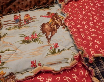 Cowboy Rag Quilt, Throw Size, Country Western, Cowgirl Horse Blanket with Minky, Handmade in NJ