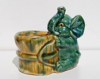 Vintage Ceramic Baby Elephant Planter Figurine Bucket Blue Green Turquoise