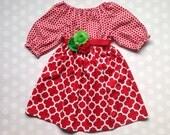 Girls Christmas Dress Quatrefoil and Polka Dots - Baby Girl Christmas Dress - Girls Dress - Sibling Outfits - Baby Girl Dress