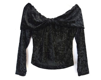 90's Crushed Velvet Off the Shoulder Cropped Bow Sweater size - S/M