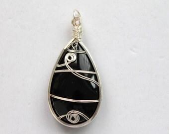Wire Wrapped Teardrop Glass Pendant