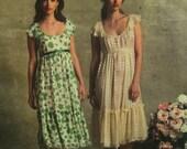 Anna Sui Empire Waist Dress Pattern, Peasant Boho, Two-Tier Skirt, Ruffles, Scoop Neck, Vogue American Designer 2940 UNCUT Size 6 8 10 12