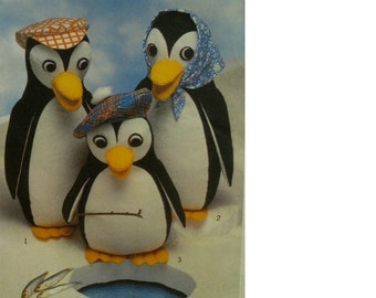 "1970s Stuffed Penquins Pattern, Family, Craft, Decor, Hats, Style No. 2012  Sizes: 13""16"" 17"" (33-43cm)"