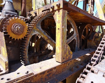 Industrial Gears Photo, Ghost Town Picture. Abandoned Places Artwork, Fine Art Photograph 8x10