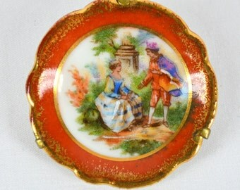 Limoges Plate Brooch Prince and Princess Rust Border with Gold circa 1950s