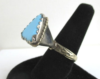 Looong Blue Handmade Ring - Unusual Large Triangle Shape - Vintage
