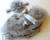 Gray Tutu Bloomer and Chiffon Lace Headband, All Around Bloomer Skirt, Chiffon Ruffle Bloomer Tutu, Baby Photo Prop Set, Newborn Photo Set
