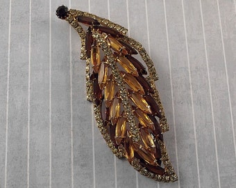 Vintage LARGE Rhinestone Leaf Pin Brooch Brown Topaz Jonquil Rhinestones Layered Dimensional Autumn Fall Jewelry Colors Big Pin