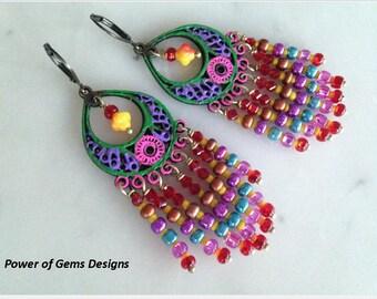SALE_Hand painted bright colorful gypsy earrings, chandelier earrings, Boho-Bohemian, festival, brass, rusty, hippie