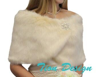Bridal shrug, Champagne #1 Faux Fur Wrap, Faux Fur Stole, Faux fur shrug, wedding fur shawl, faux fur ...