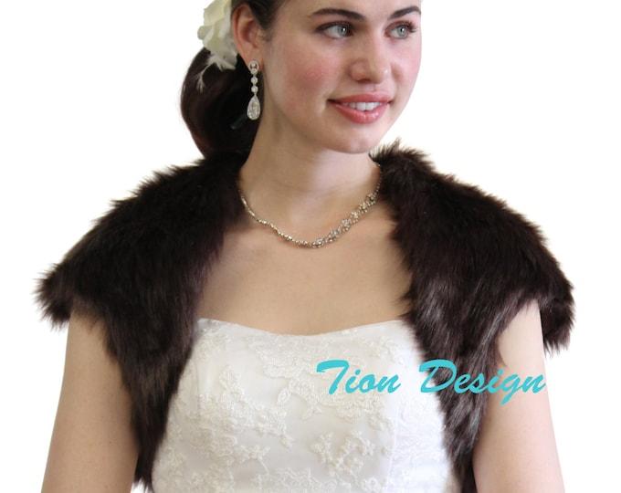 Sable Faux Fur Bridal Bolero Crop Jacket, Fur Shrug, Fur Stole, Fur Coat