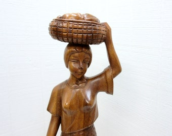 Vintage Wooden Woman Figurine With Basket Hand Carved Figurine