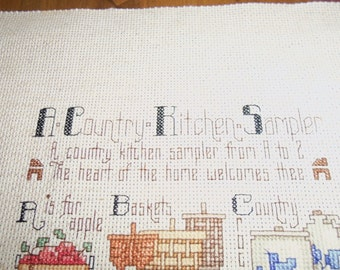 Vintage Sampler, Kitchen, Counted Cross Stitch, Handmade, Farmhouse