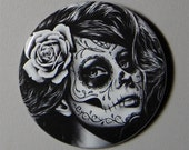 2.25 inch Pin Back Button - Duality - Day of the Dead Sugar Skull Girl Calavera Black and White Tattoo Flash Gothic Lolita Skeleton Pin